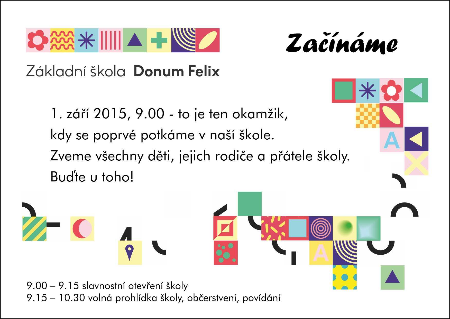pozvanka- otevření školy Donum Felix